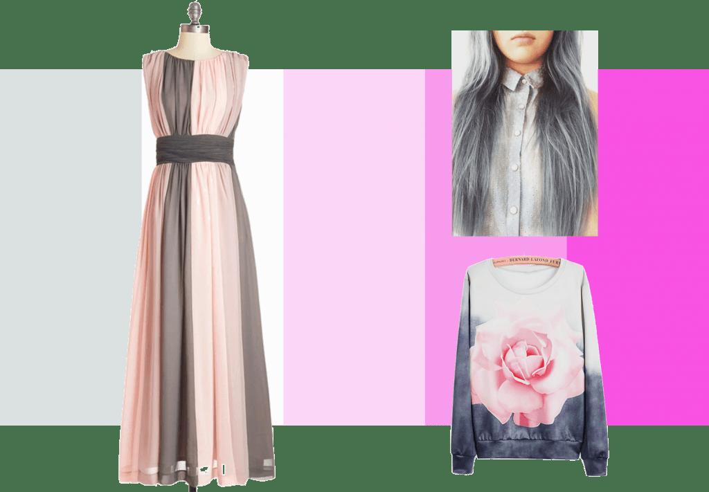 Gris, blanco y rosa