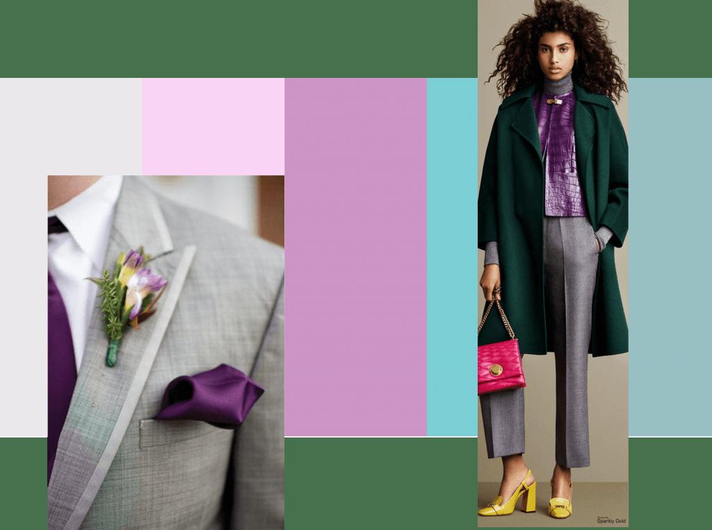 Gris, rosa, violeta y verde
