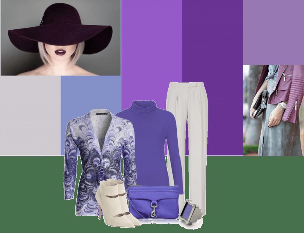 Gris, azul y violeta